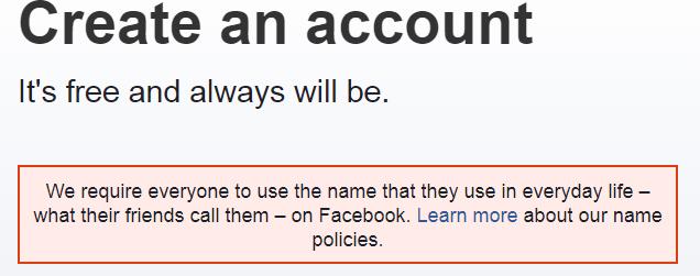 Um sich bei Facebook zu registrieren, wird empfohlen sich mit Klarnamen anzumelden.
