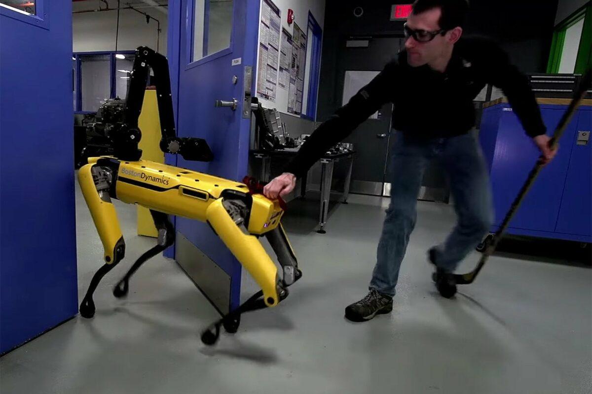 Der Spot Mini-Roboter von Boston Dynamics wird am hinteren Ende festgehalten