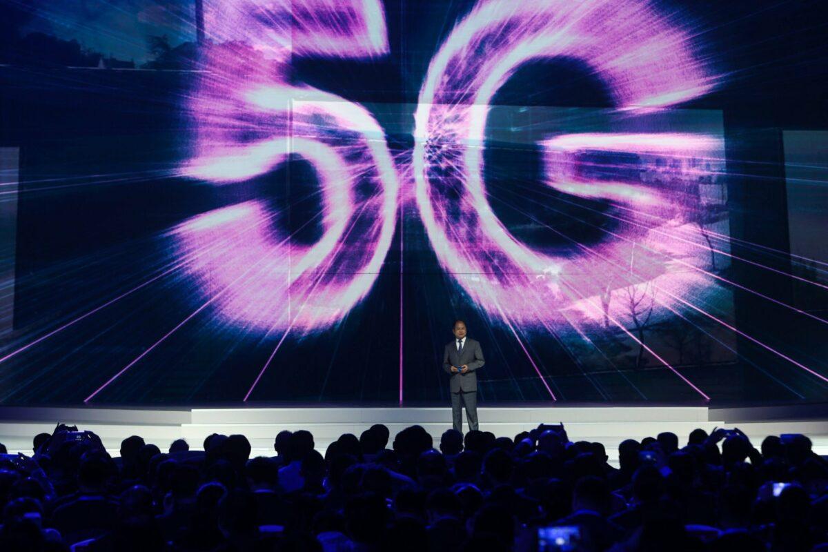 5G-Projektion auf einer Leinwand