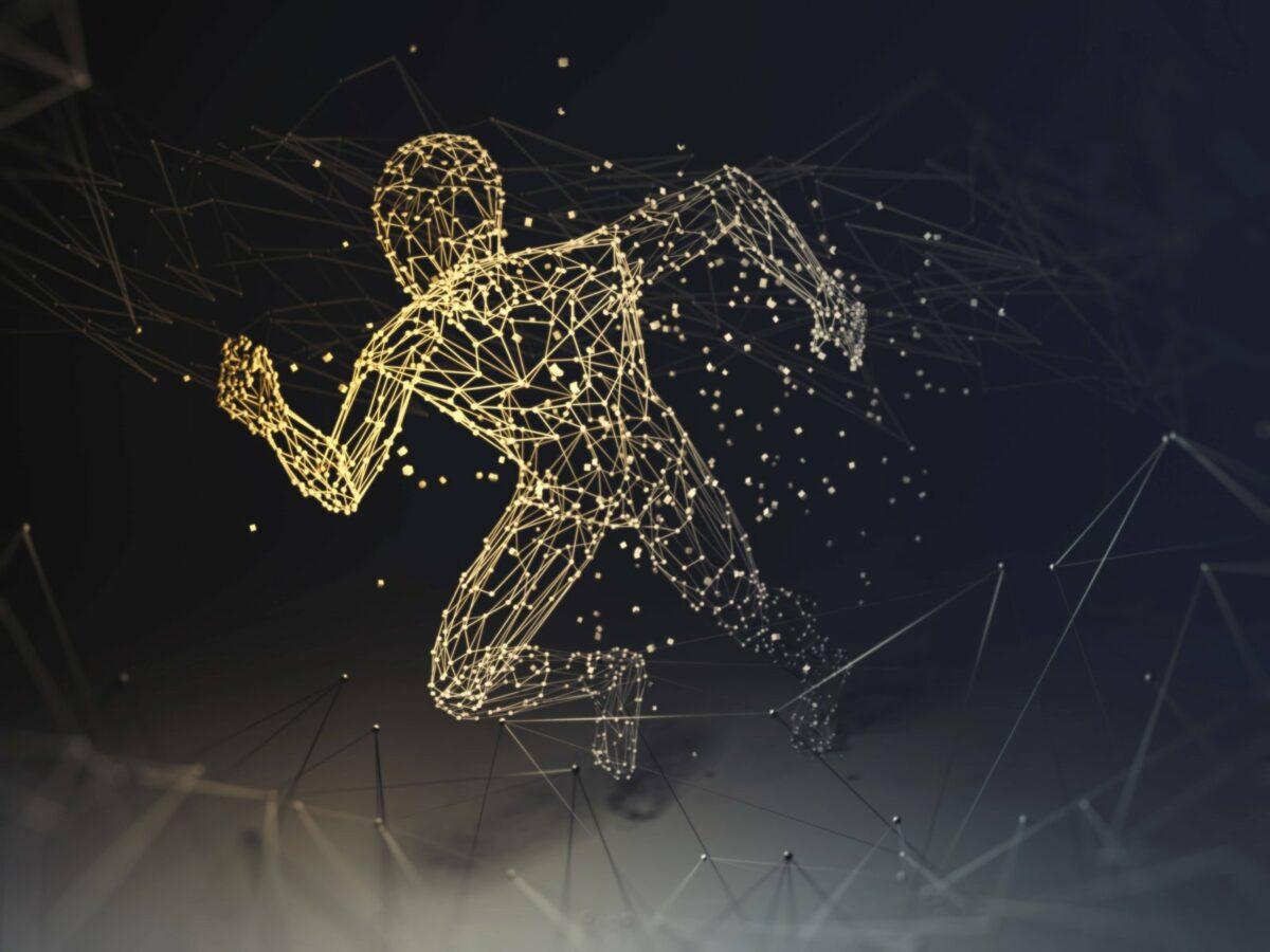 Ein simulierter Mensch aus Nervensträngen rennt