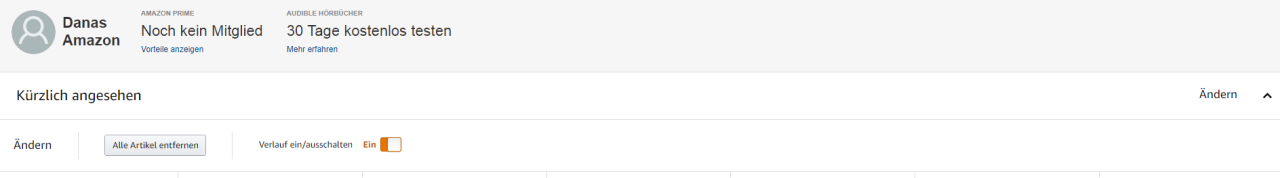 Über die Amazon-Toolbar erreichst du die Liste der Produkte, die du dir zuletzt angeschaut hast. Diese kannst du löschen und/ oder pausieren.