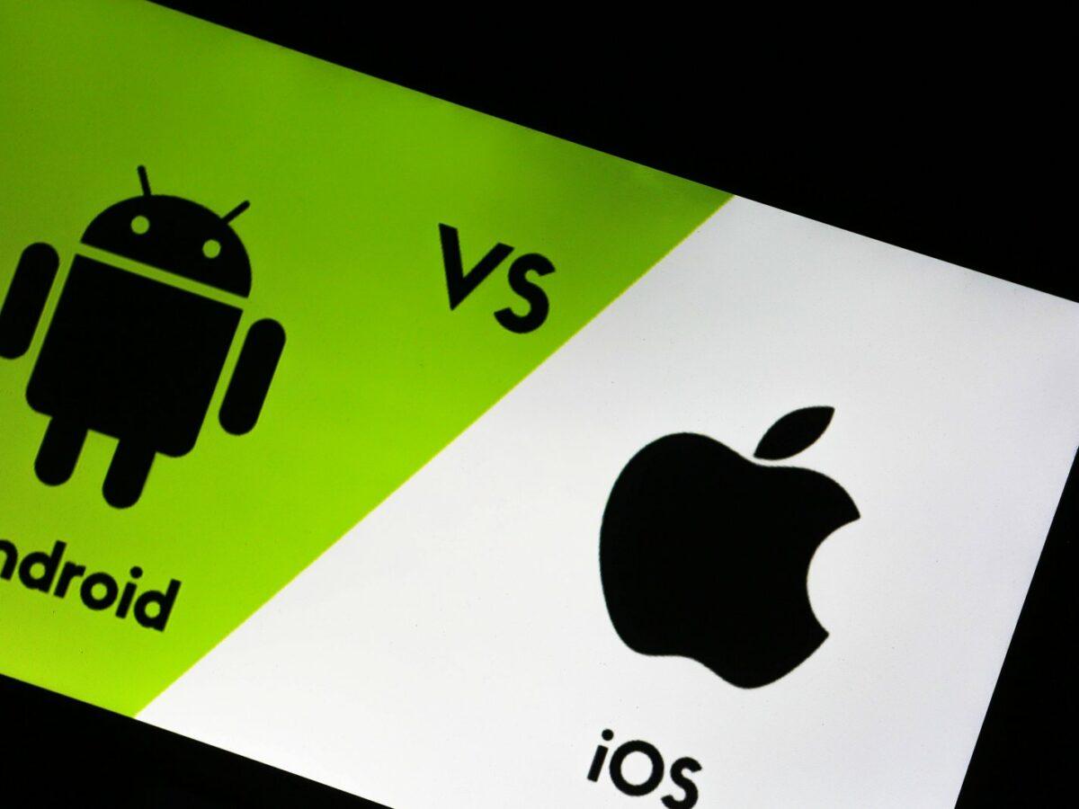 Android-Symbol und Apple-Symbol.