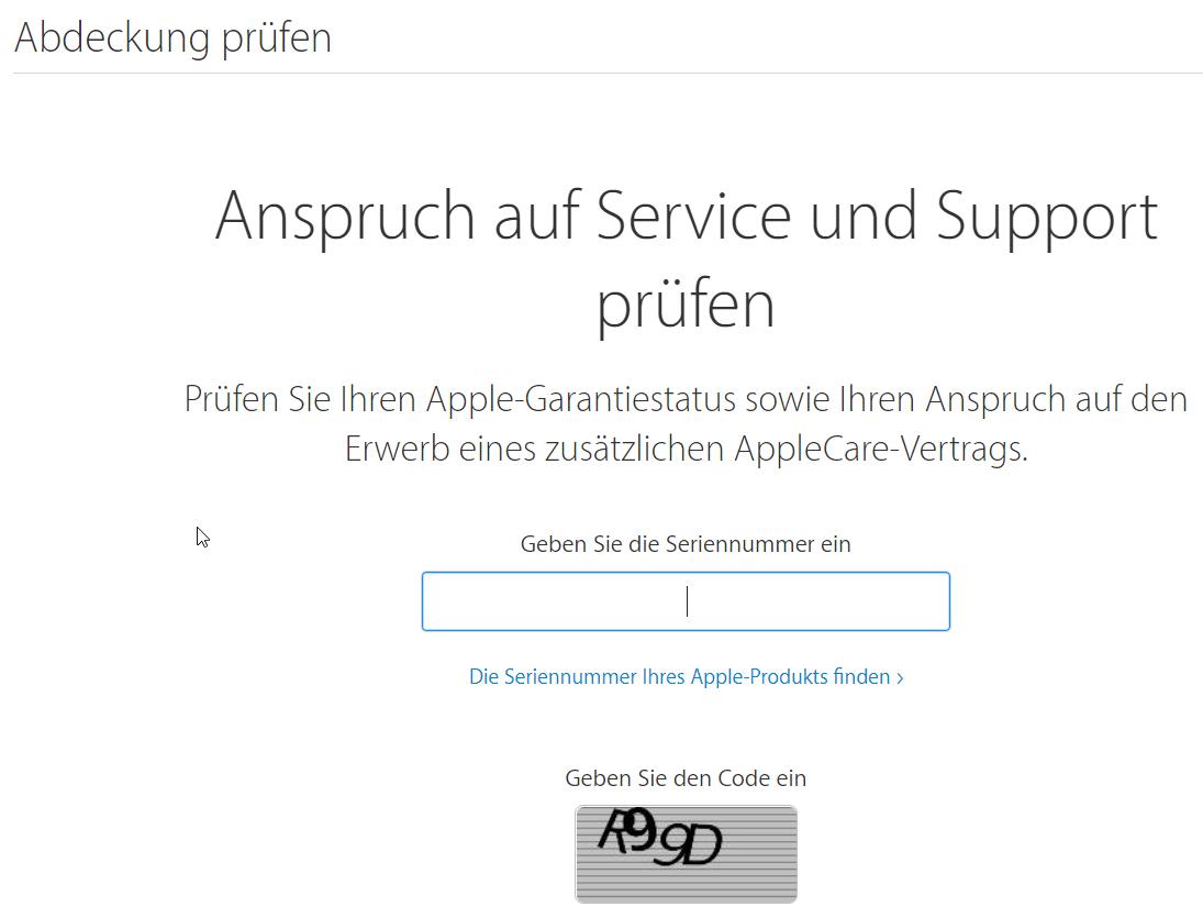 Über diese Apple-Webseite kannst du den Status deiner Apple-Garantie abfragen.