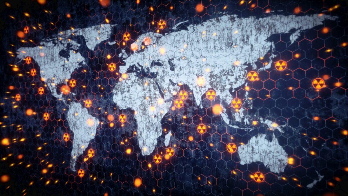 Atomkrieg auf der Weltkarte.