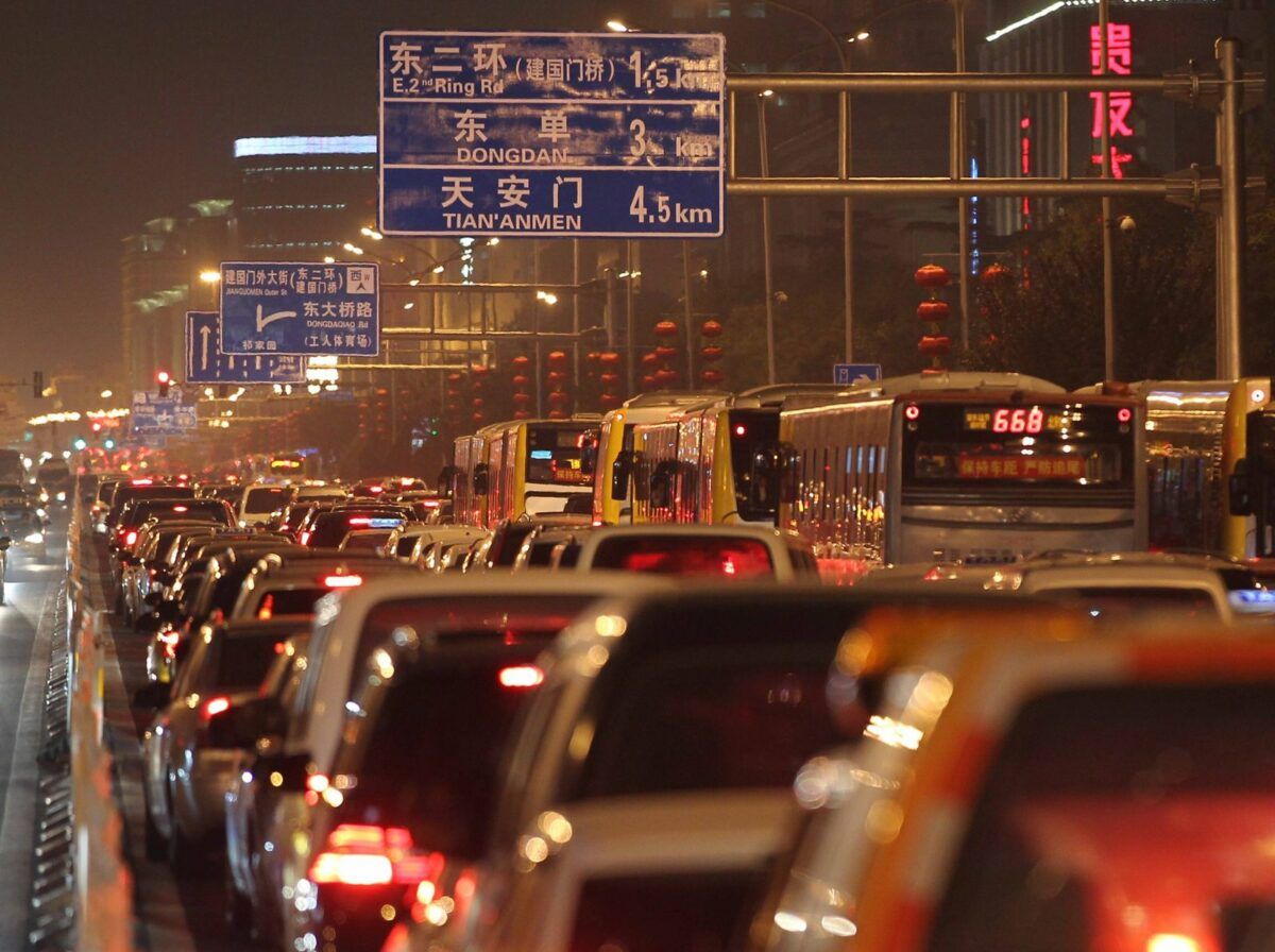 Stau auf einer Straße in China