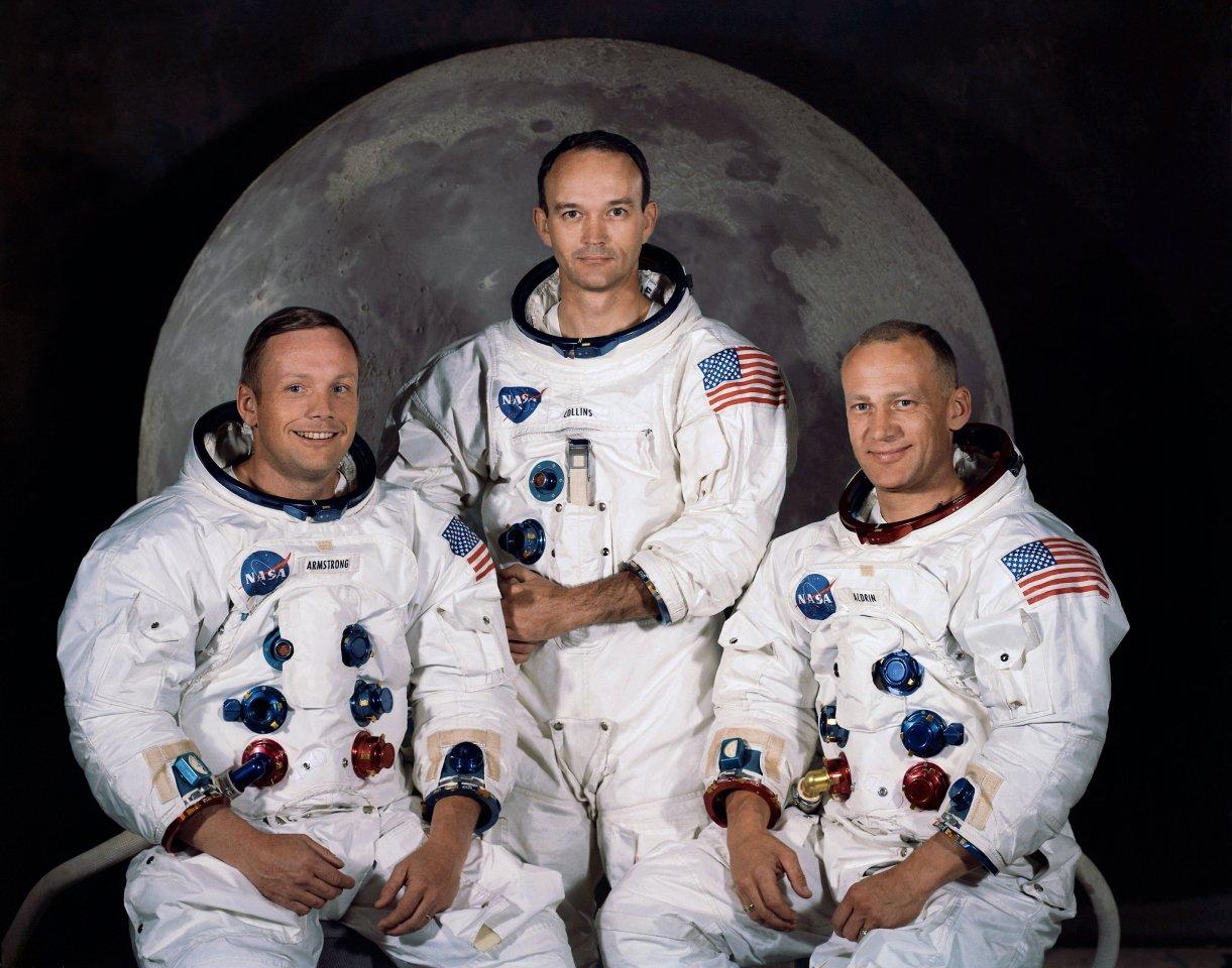 """Die Crew der Apollo 11-Mission: Neil Amstrong, Edwin Eugene """"Buzz"""" Aldrin und Michael Collins."""