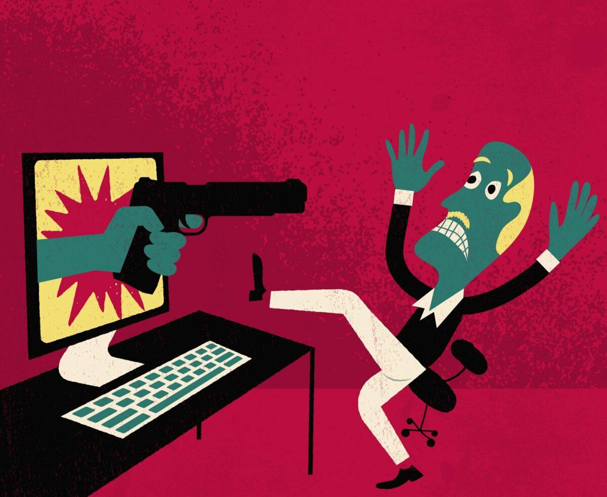 Bildschirm bedroht User mit Waffe (Karikatur)
