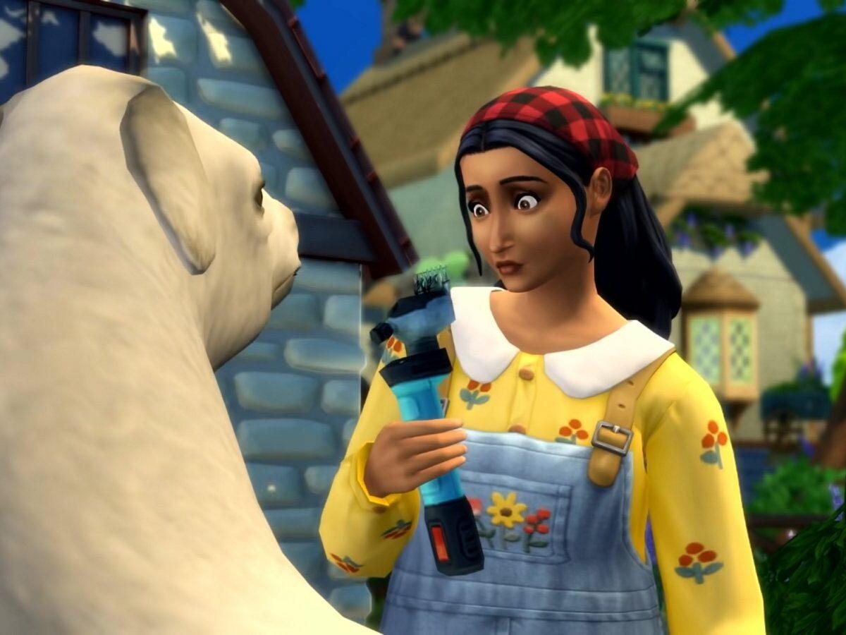 Frau mit Lama in Die Sims 4.