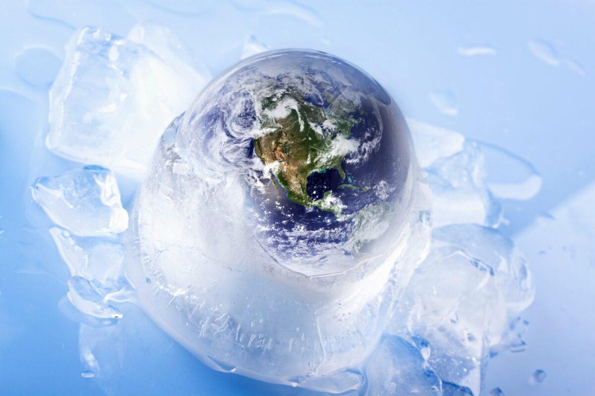 Planet Erde in Eis gehüllt