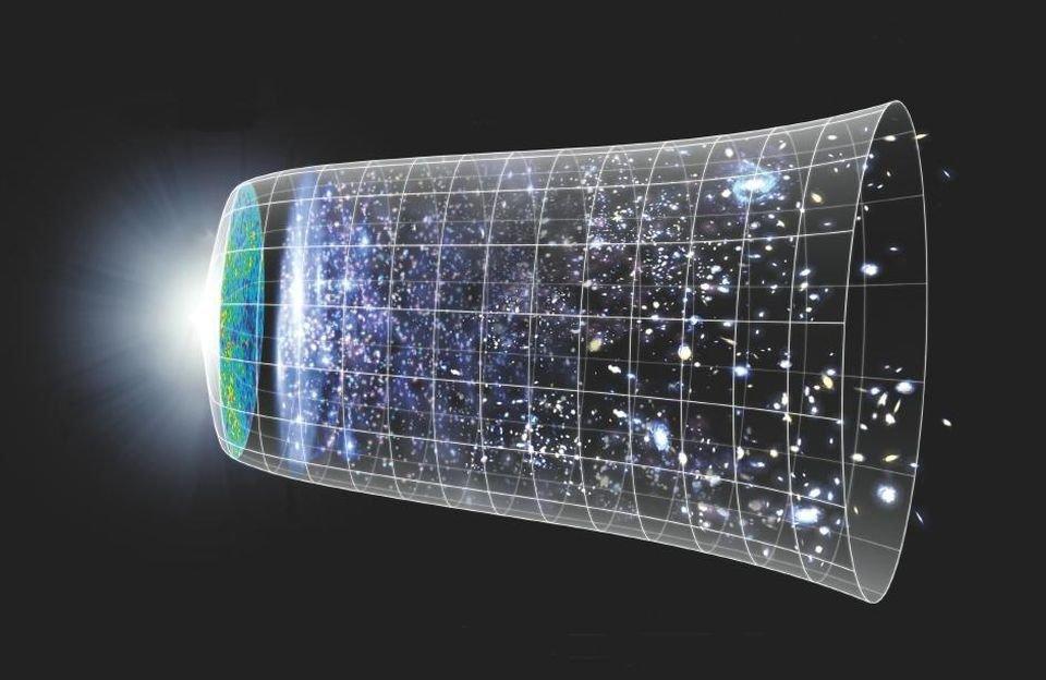 Das Bild der NASA veranschaulicht die Entstehung unseres Universums und seine Expansion. Ein Mittelpunkt ist nicht genau zu erkennen.