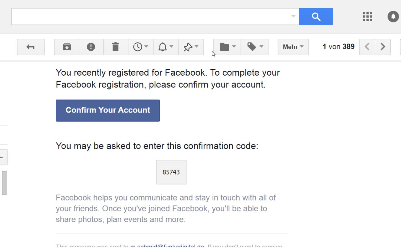 Die eigene E-Mailadresse wird mit dem Code dann bestätigt.
