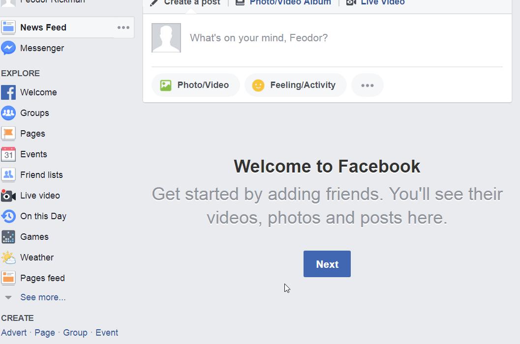 Nachdem es gelungen ist, euch bei Facebook zu registrieren, könnt ihr loslegen.