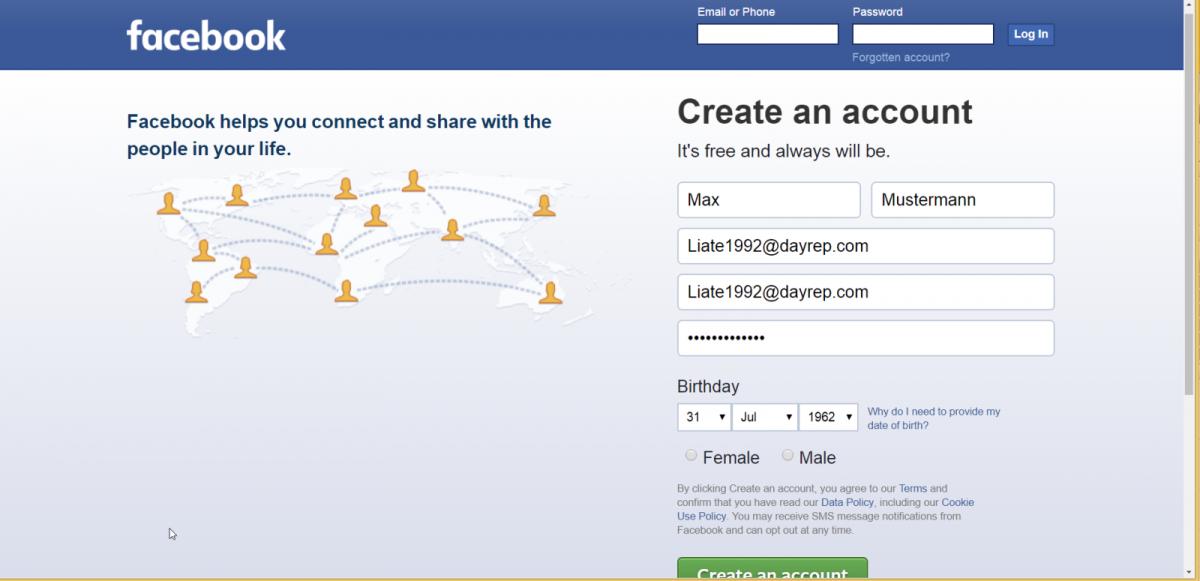 Sich bei Facebook zu registrieren