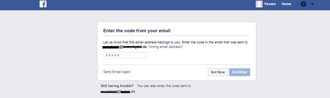 Die E-Mailadresse muss bei der Anmeldung bei Facebook durch einen Code geprüft werden.