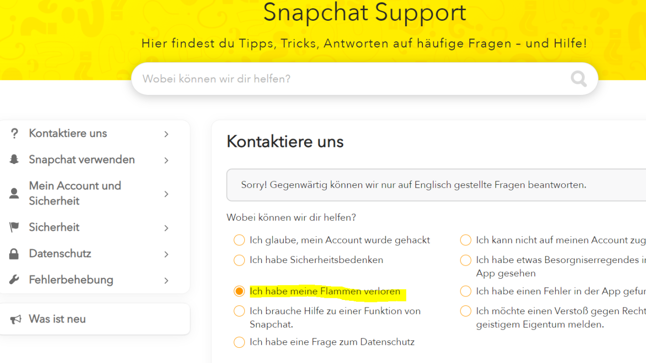 Möchtest du deine Snapchat-Flammen wiederherstellen, geht das über den Snapchat Support.