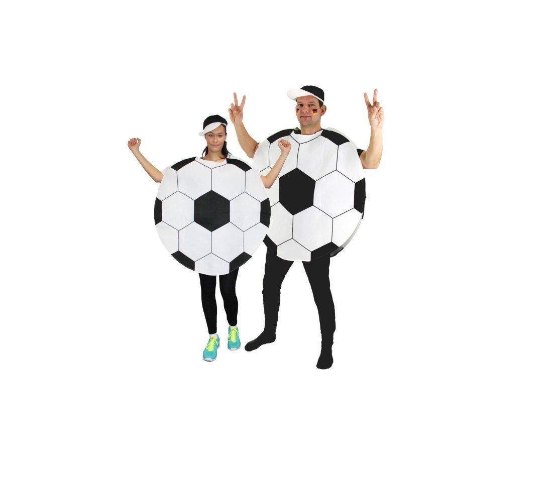 Wenn ihr mit diesem Fußball-Kostüm feiert, schaut bitte wenigstens fröhlicher als die Models der Produktseite.