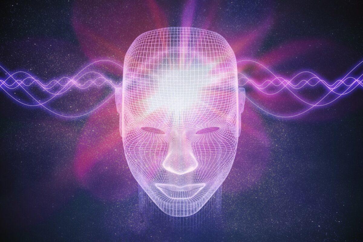 Partikel strahlen durch einen abstrakten menschlichen Kopf