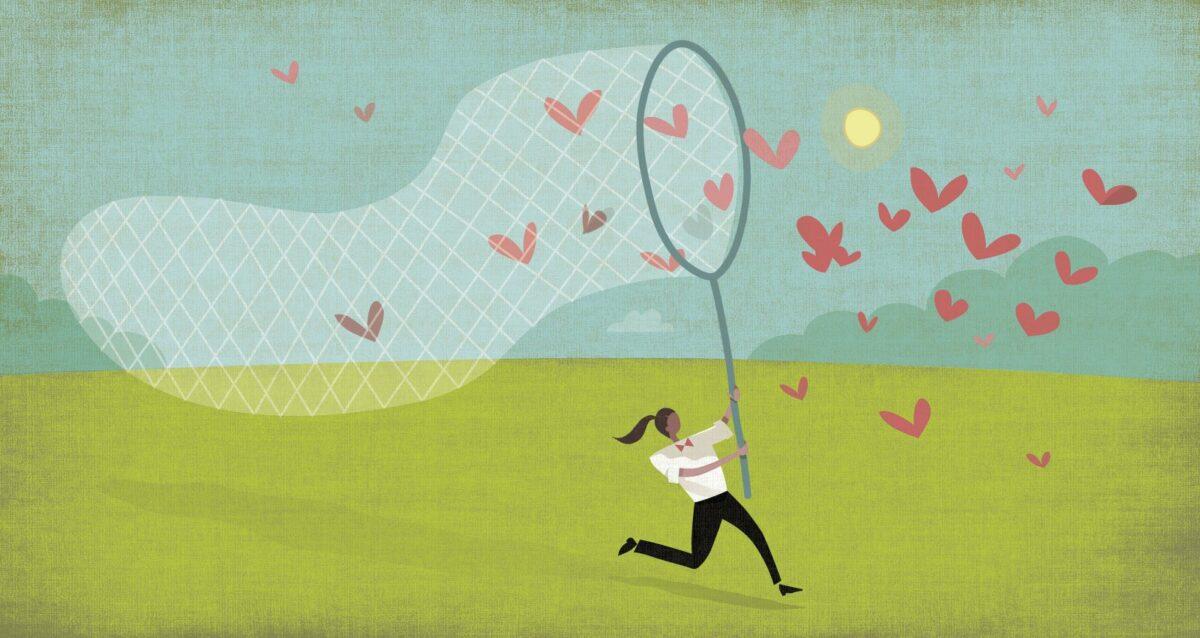 Illustration: Frau fängt herzförmige Schmetterlinge mit einem großen Netz.