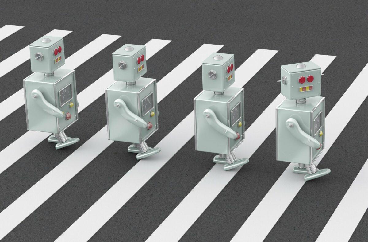 Illustration: Roboter auf dem Zebrastreifen