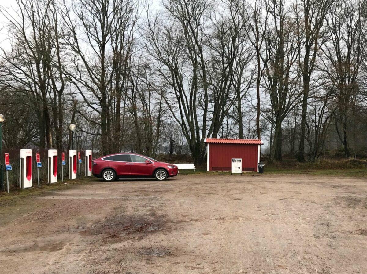 Roter Tesla auf einem Parkplatz im Wald