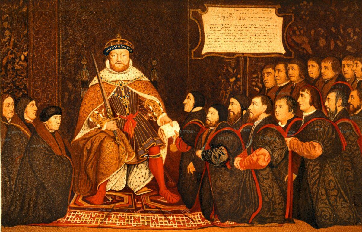 Heinrich VIII. liegt sein Hofstaat zu Füßen