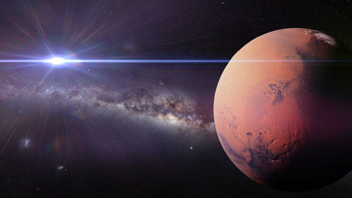 Mars und Satellit