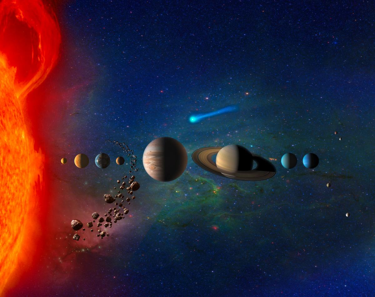 Planeten in unserem Sonnensystem variieren stark in Größe und Zusammensetzung (Künstlerillustration).