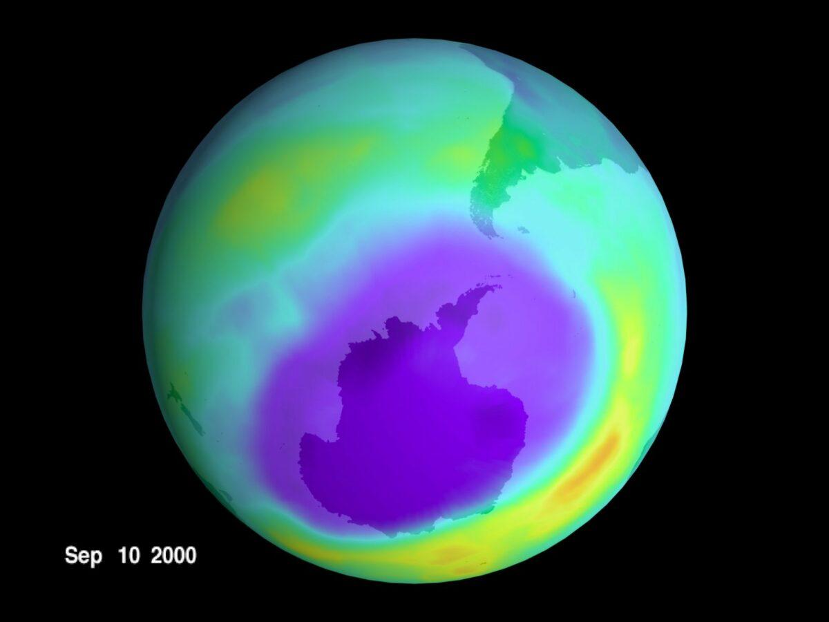 Ozonloch Erde (Simulation)