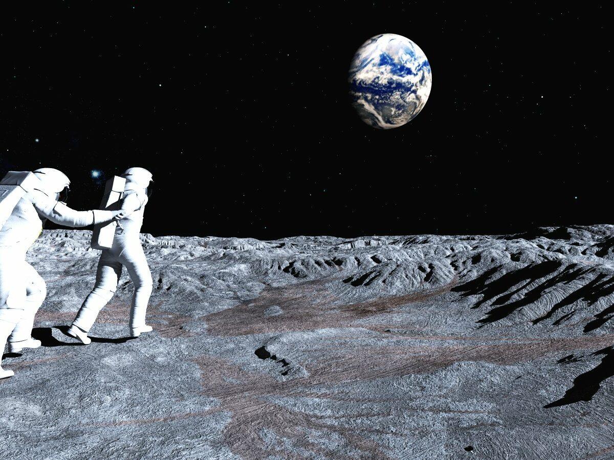Zwei Astronauten auf dem Mond