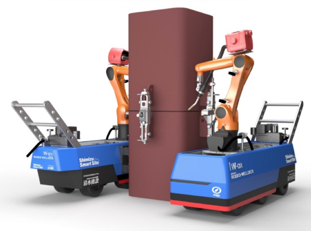 Roboter schweißen einen Stahlträger