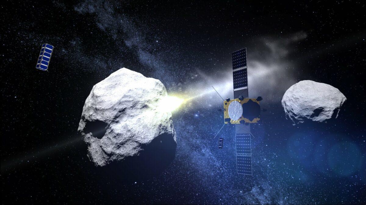 Animation eines Asteroiden im All.