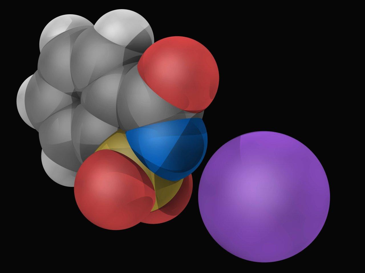 Saccharin, das Molekül des künstlichen Süßstoffs