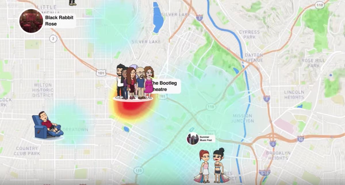 Abbildung des Features Snap Map von Snapchat.