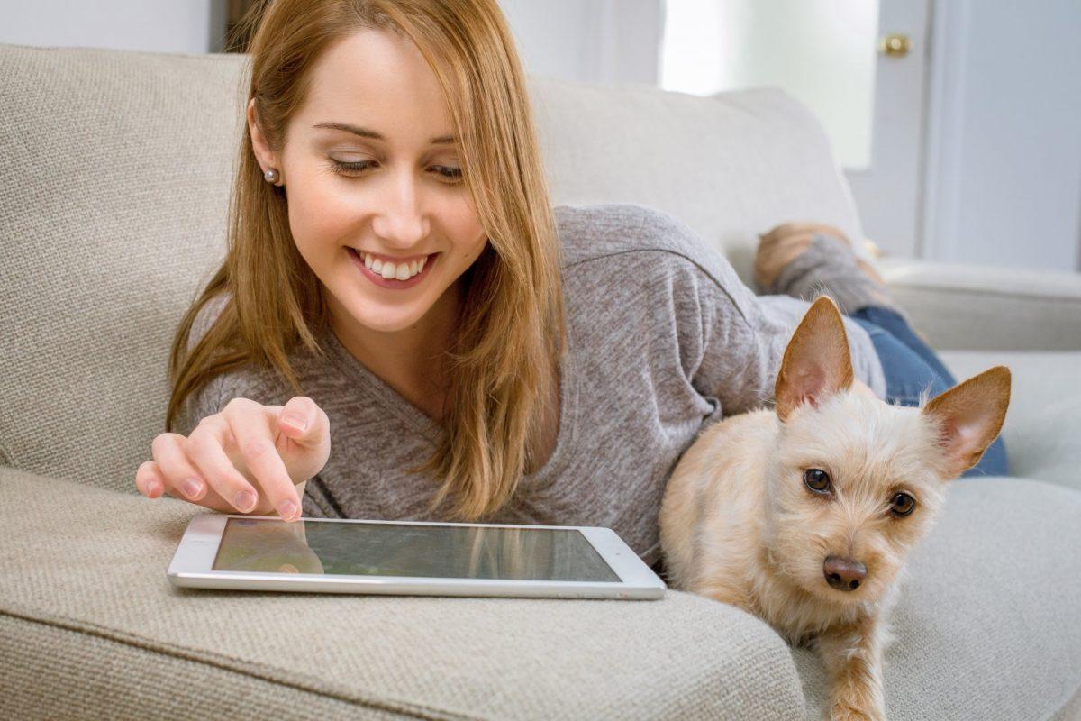 Eine Frau sitzt mit ihrem Hund auf dem Sofa und surft auf einem Tablet.