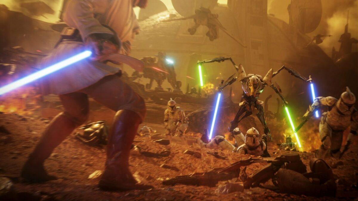 "General Grievous gegen Obi-Wan Kenobi auf Geonosis (""Star Wars Battlefront 2"" Screenshot)"