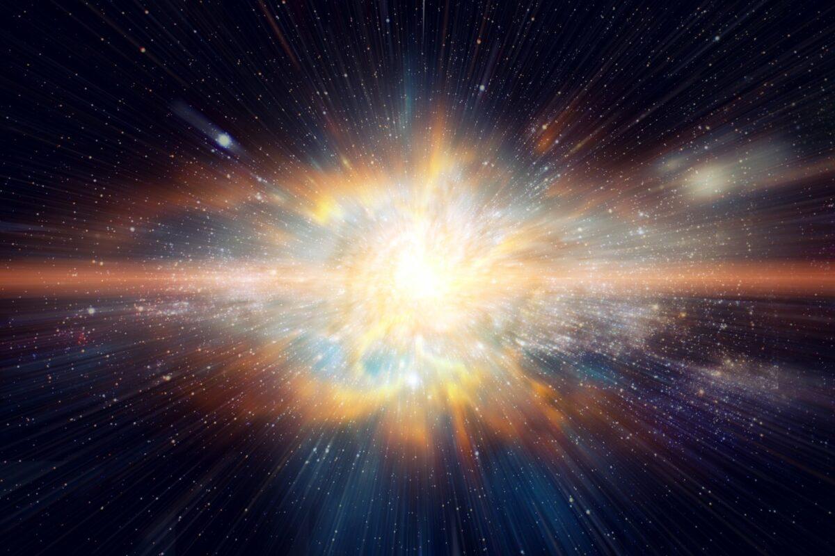 Glühender Stern im Weltall.