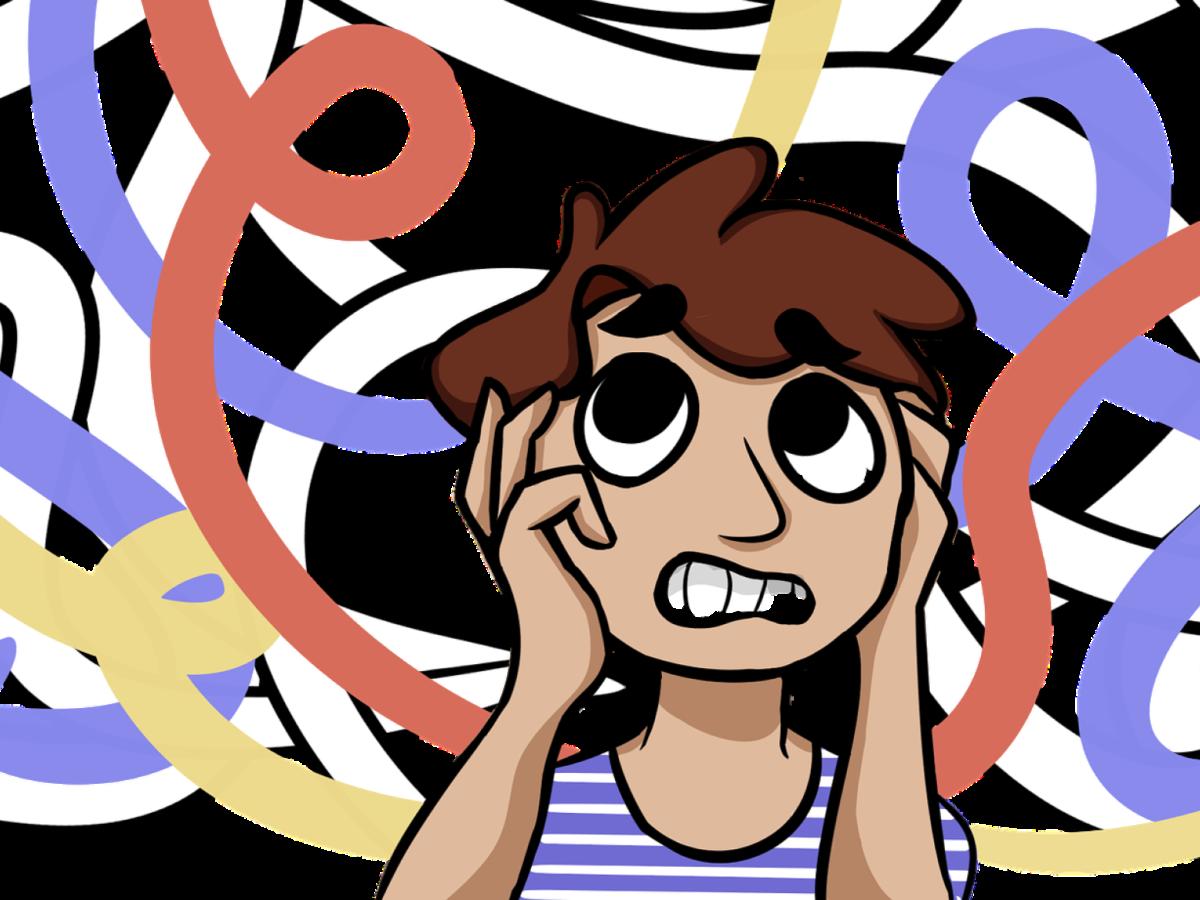 Illustration: Junge ist verwirrt von wildem Chaos um ihn herum.