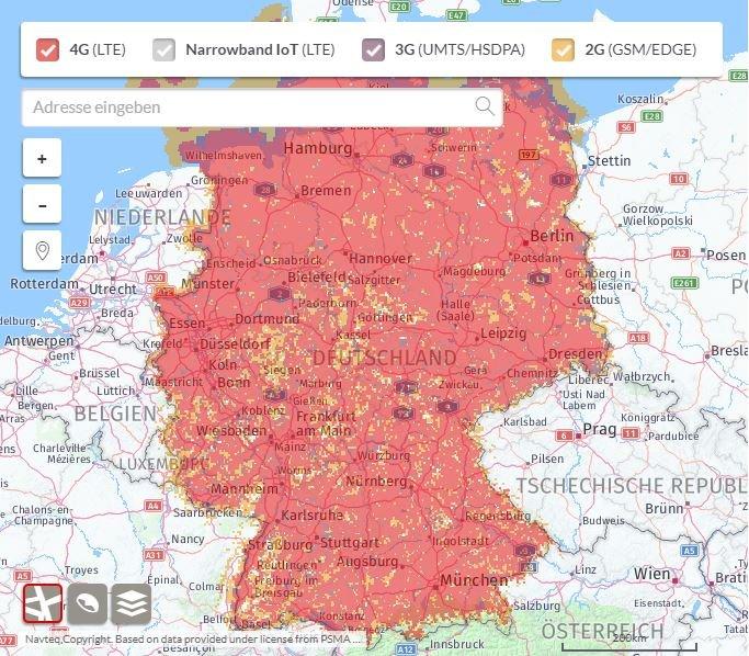 So steht es um die Netzabdeckung von Vodafone (Screenshot).