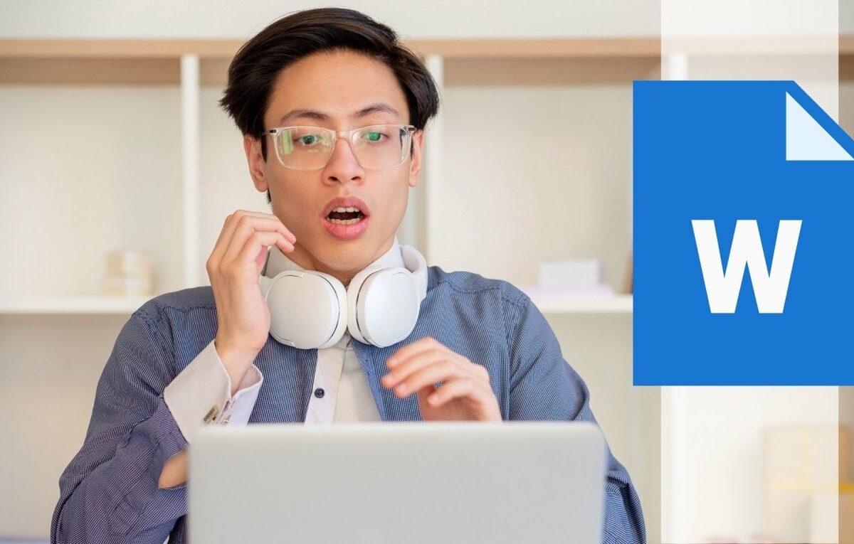 Mann geschockt vor dem Computer/Word