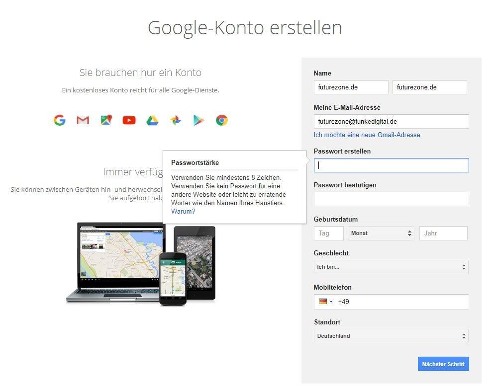 Wählt ein möglichst sicheres Passwort für euren neuen Google- beziehungsweise erstellten YouTube-Account aus.