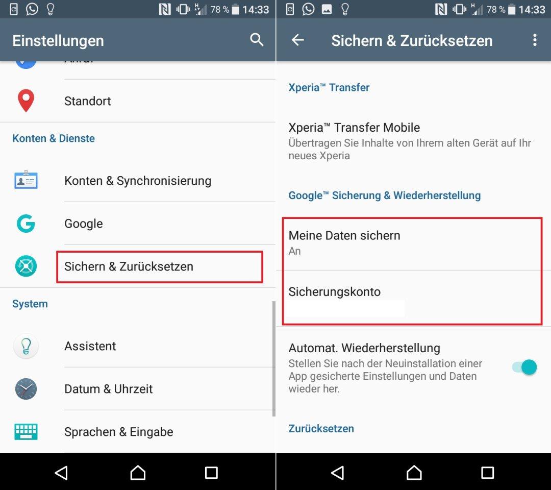 So aktiviert ihr bei Android die Datensicherung über euer Google-Konto.