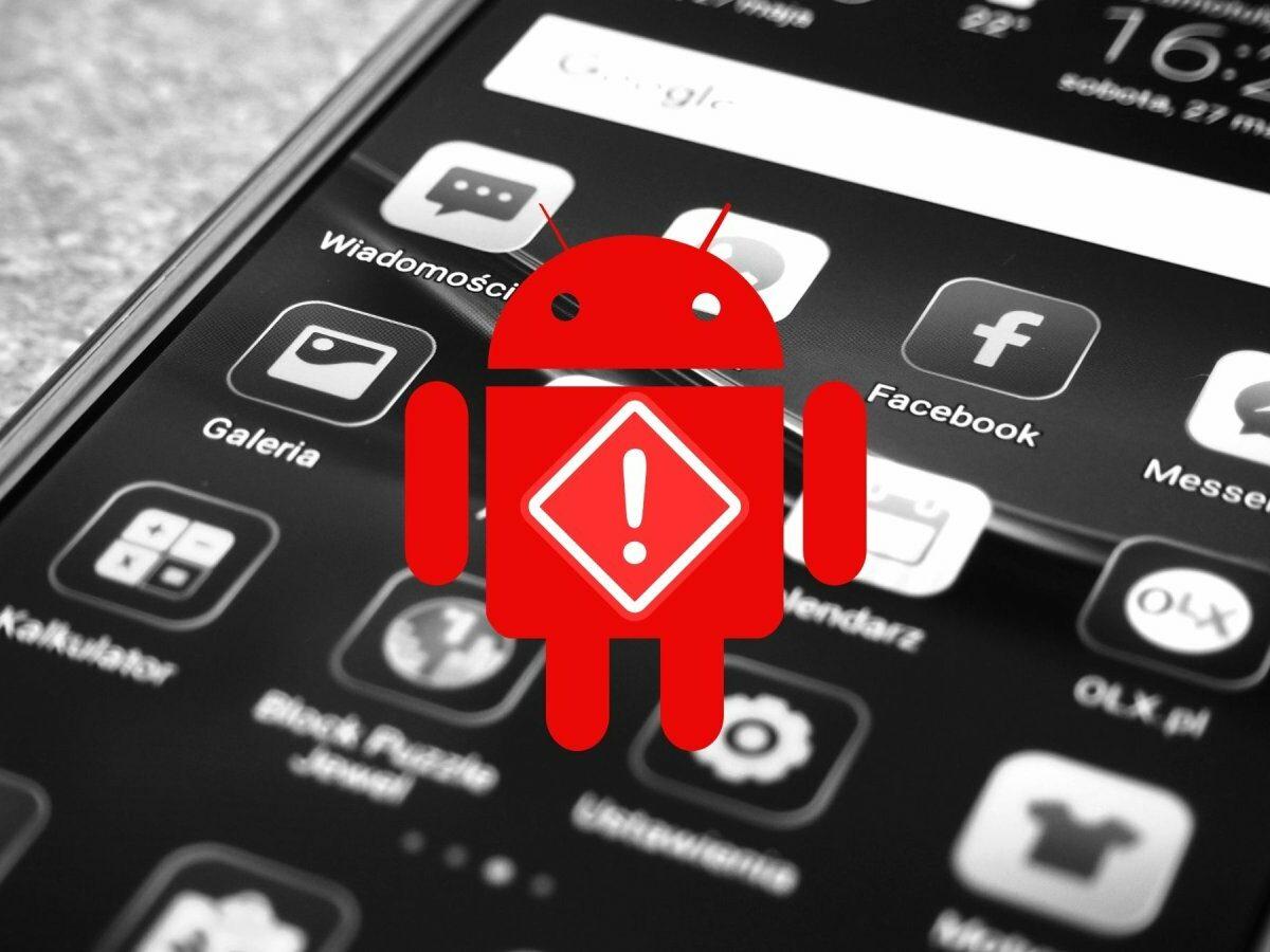 Android-Logo mit Gefahrenzeichen