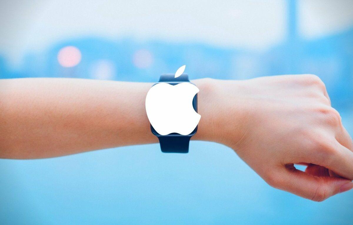 Smartwatch mit Apple-Logo.