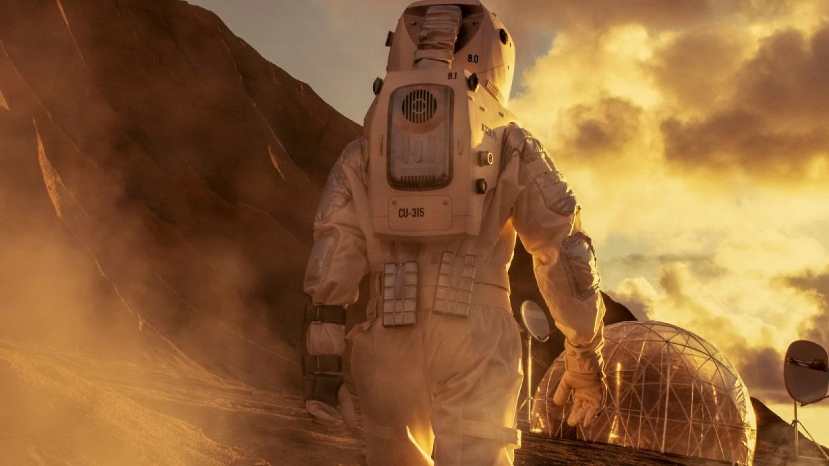 Astronaut erforscht fremden Planeten.