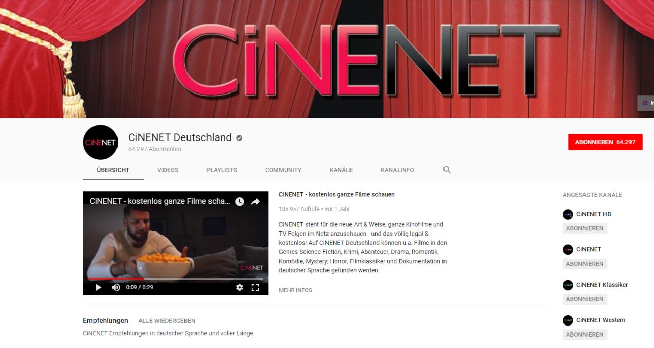 CiNENET Deutschland bei YouTube