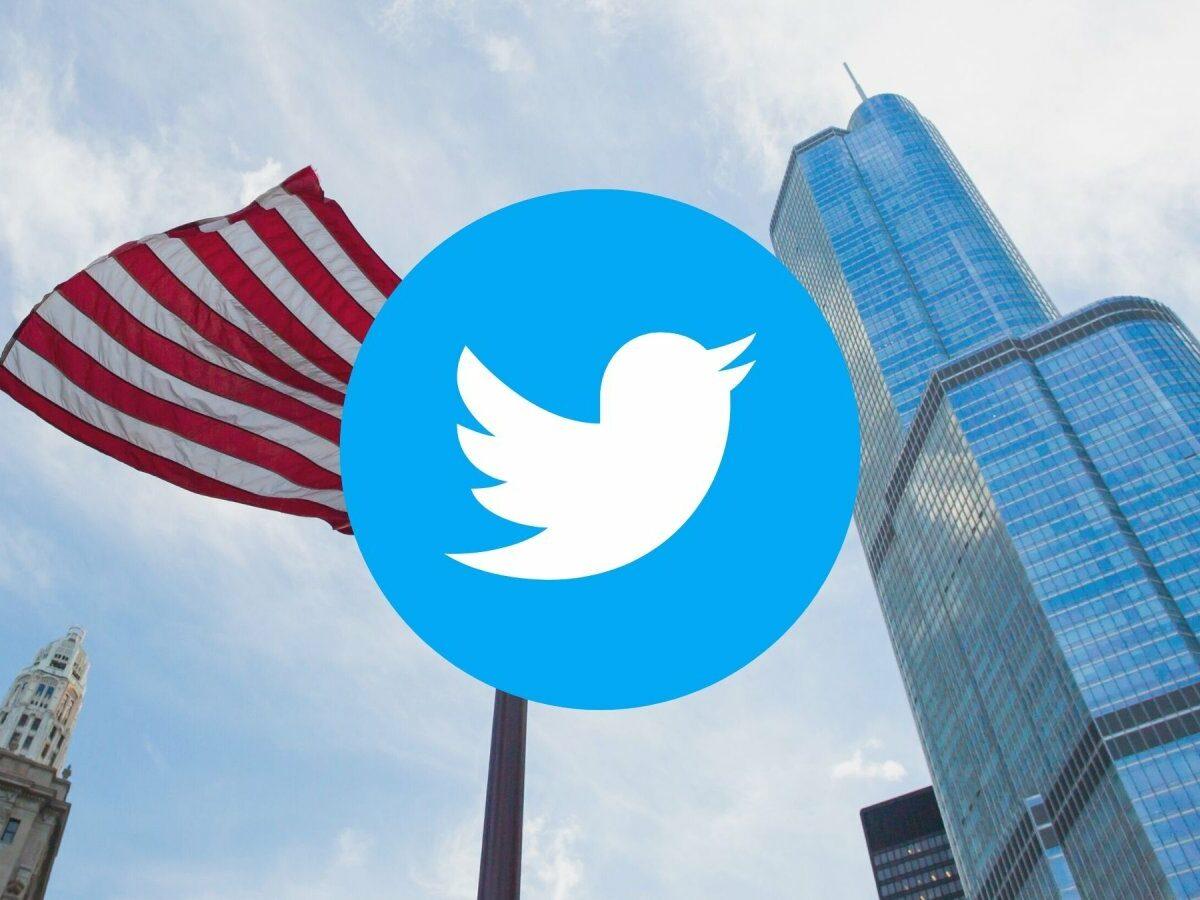 Twitter Logo und US-Fahne vor dem Trump Tower