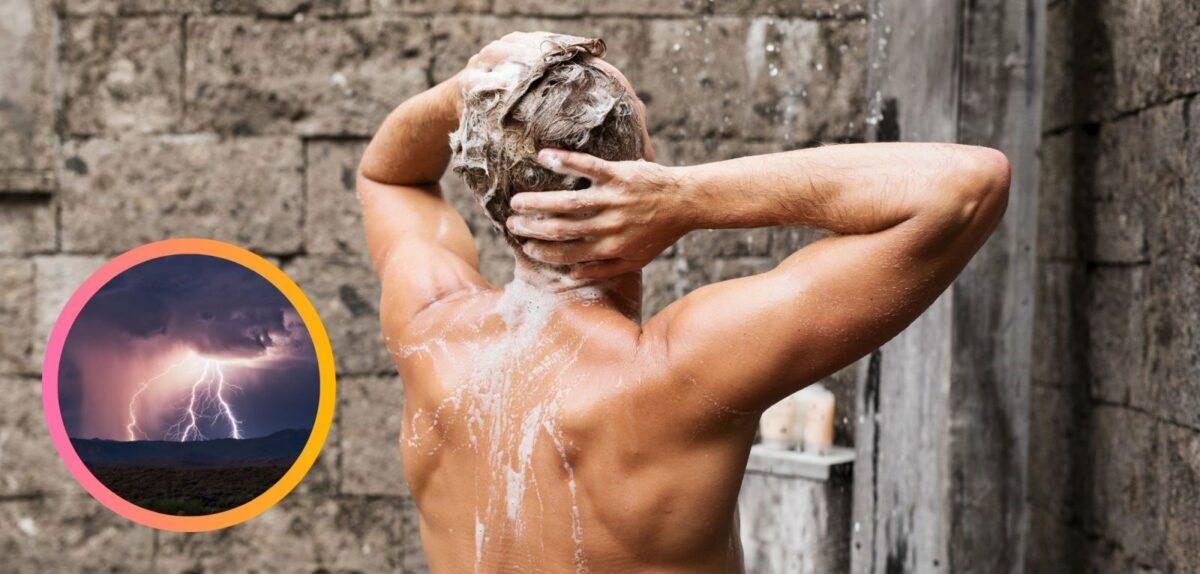 Mann unter der Dusche und ein Gewitter