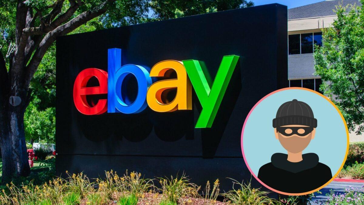 Ebay-Logo und ein Räuber