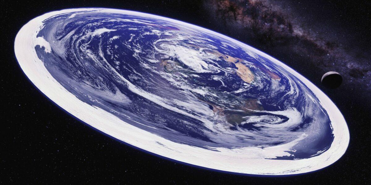 Illustration der Erde als Scheibe