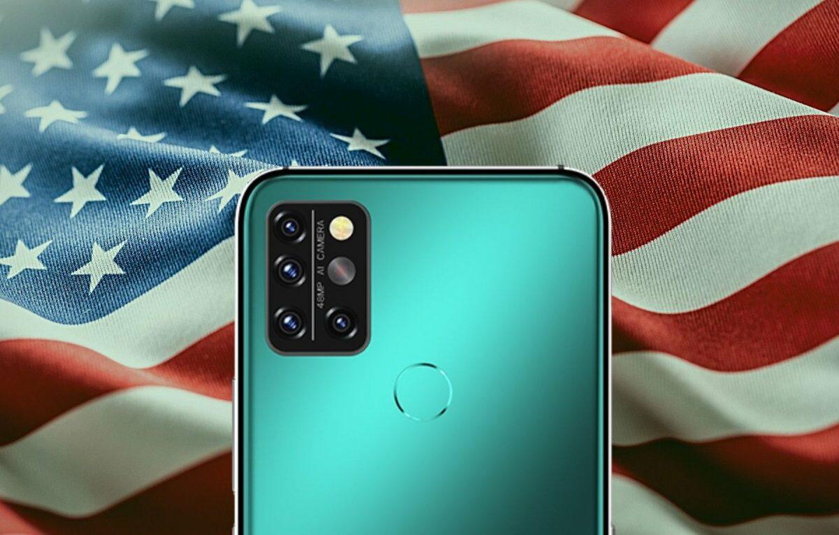 Umidigi A9 Pro vor einer US-Flagge